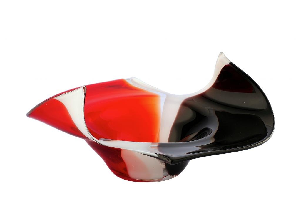 New 13'' Hand Blown Glass Murano Art Style Vase Bowl Sculpture Red White Black by Exquisite Glass Decor