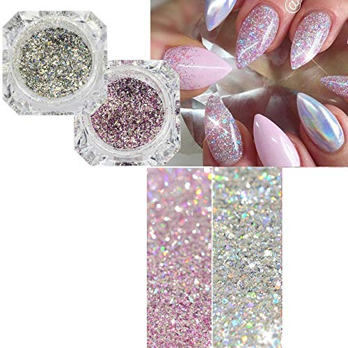 Platinum Shiny Nail Glitter Powder Laser Sparkly Diamond Manicure Nail Art Chrome Pigment DIY Nail Art Decoration Nailpow
