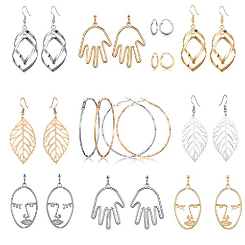 assic Double Linear Loops Design Twist Wave Hoop Earrings Hollow Out Human Face Hand Leaf Shaped Dangle Stud Earring Set For Women Girls (12 pairs-6 styles) (Classic Hoop Design)