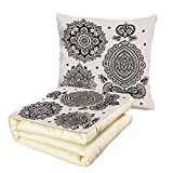 iPrint Quilt Dual-Use Pillow Henna Set of South Asian Inspired Design Elements Floral and Geometric Style Ornamental Decorative Multifunctional Air-Conditioning Quilt Black White