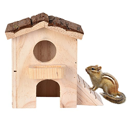 Yunt Hamster Toys Wooden Cage House Double-deck Loft Luxury Villa Hut with a Feeding Trough on the Second Floor for Hamster Small Pets to (Deck Trough)