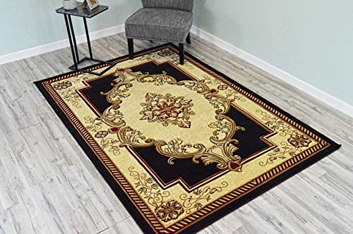 Glamour Design 3D Effect Hand Carved Traditional Oriental Floral Rug 9 2 x12 5 Black Beige by ArtistryRugs