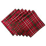 "DII 100% Cotton, Oversized Basic Holiday 20x 20"" Napkin, Set of 6, Tartan Holly Plaid"