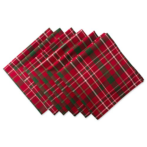 - DII Tartan Holiy Plaid 100% Cotton Oversized Napkin for Holidays, Family Gatherings, & Christmas Dinner - Set of 6 (20x20