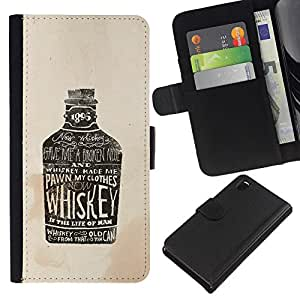 All Phone Most Case / Oferta Especial Cáscara Funda de cuero Monedero Cubierta de proteccion Caso / Wallet Case for Sony Xperia Z3 D6603 // Whiskey Bottle Bar Drinking Party Alcohol Art