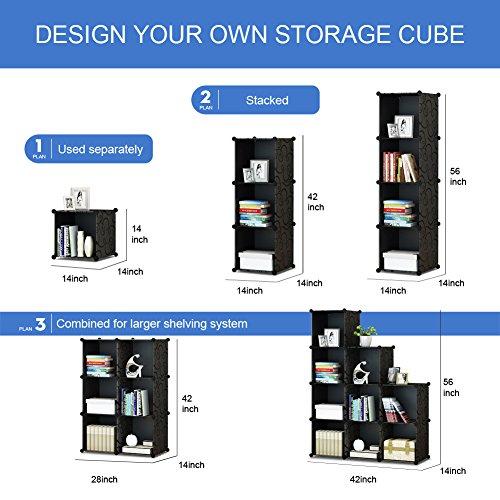 Amazon.com: KOUSI 4 Tier Storage Cube Closet Organizer Shelf 9 Cube Cabinet  Bookcase Without Doors Black: Home U0026 Kitchen