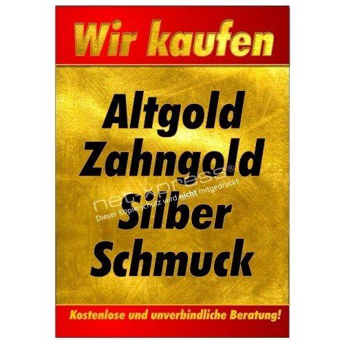 Plakat Ankauf von Gold, Silber, Schmuck A1, Werbeplakat Poster Bargeld