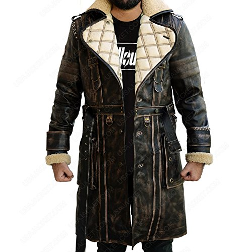 Four Coat Shearling Button (Fallout 4 Costume Coat Blade Runner Mens Shearling Brown Distress Fur Real Leather Genuine Trench Coat Costume (M, Brown))