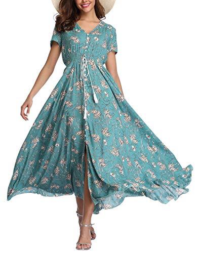 Women's Floral Maxi Dresses Boho Button up Split Beach Party Long Dress ()