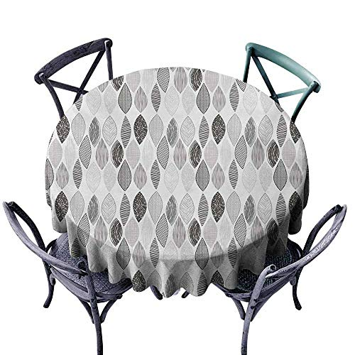 (Antifouling Tablecloth Doodle Woodland Forest Pattern with Abstract Leaves Sketch Art Style Charcoal Grey Pale Grey White Indoor Outdoor Camping Picnic D67)