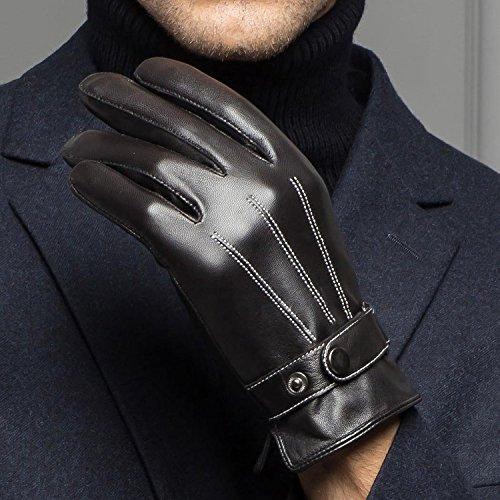 (ロジャーベルダー)LOGERBELDERスマホ対応人気レザーグローブインナーフリースメンズ大人男性用かっこいい革手ぶくろ冬防寒手袋裏起毛暖かい黒ブラック(フリーサイズ)