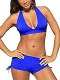 Zando Womens Swimsuits with Boyshort Athletic Two Piece Bathing Suit for Women Boy Short Bikini Royal Blue M (US 6-8)