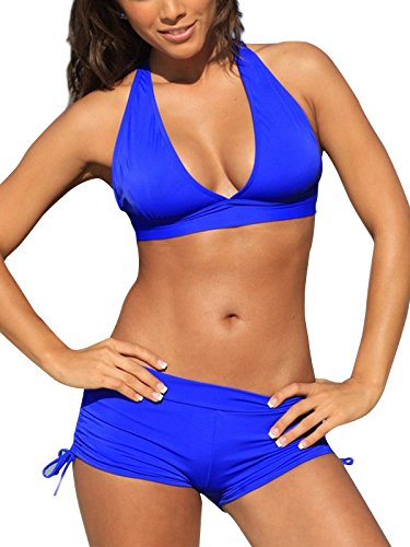 Blue Halter (Zando Push Up Two Pieces Bikini With Boyshort Athletic V Neck Swimsuit Vintage Halter Back Swimwear Bathsuit For Women Charming Royal Blue S (US 2-4))