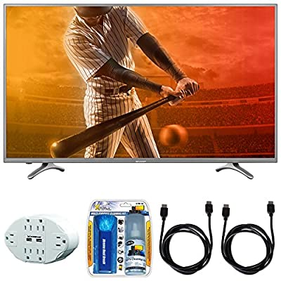 "Sharp Aquos N5300 Full HD 55"" Class 1080p 60Hz WiFi Smart LED TV (55N5300U) with 6 Outlet Wall Tap w/ 2 USB Ports White, Performance TV/LCD Screen Cleaning Kit & 2x HDMI to HDMI Cable 6'"
