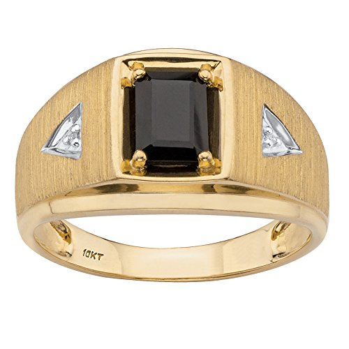 Men's Solid 10K Yellow Gold Emerald Cut Genuine Black Onyx and Diamond Accent Ring Size 11
