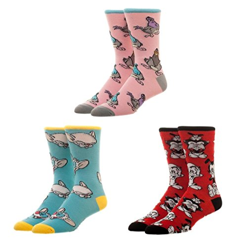 Animaniacs 3 Pairs Crew Socks Gift Box Goodfeathers Pinky Brain Yakko Wakko Dot ()