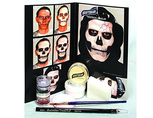 Graftobian Skull Complete Character Skeleton 13pc .5 oz Makeup Kit, White -