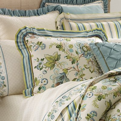 Croscill Home Fashions Corfu 26-Inch by 26-Inch European Sham, Sky Blue ()