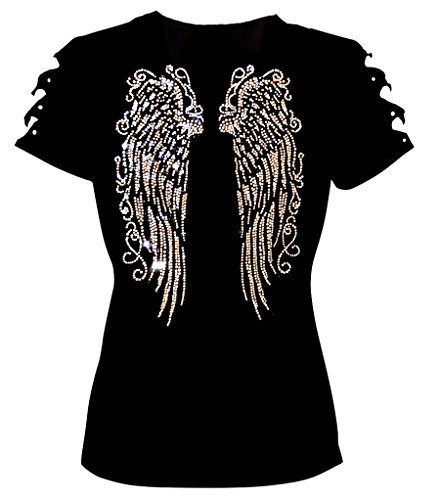 T-shirt Bling Fashion (Long Angel Wings Bling Bling Rhinestones T-Shirt Ripped Cut Out Short (2X-Large))