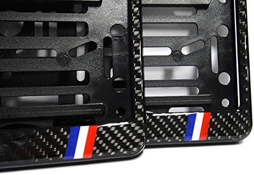RZG 2x Black Genuine Carbon Fibre Fiber Euro Car Licence Registration Number Plate Holder Surround Frame DS France