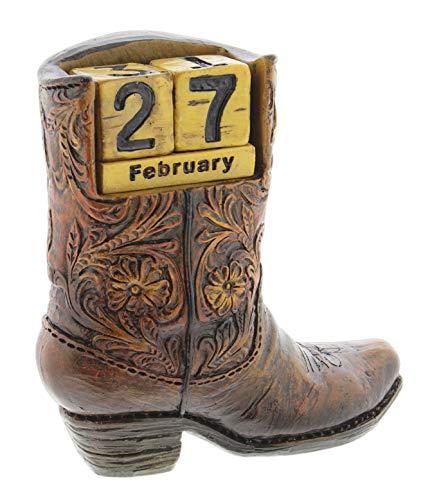 Resin Cowboy Boot Figurine Desk Calendar