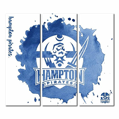 Victory Tailgate Hampton University Pirates Triptych Canvas Wall Art Watercolor (48x54 ()
