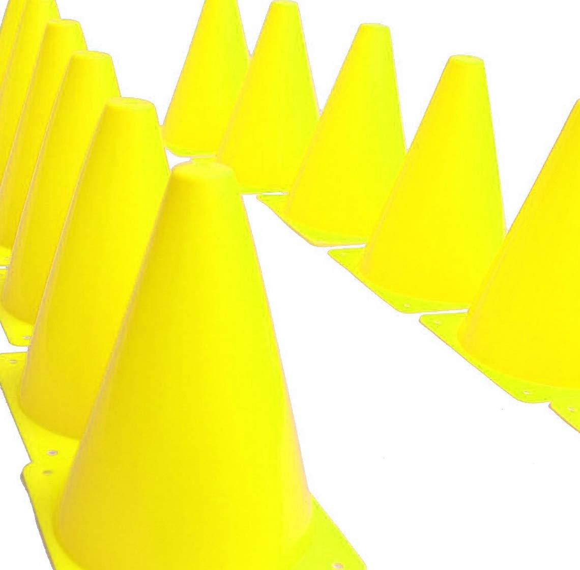 KINJOEK 7インチ スポーツトレーニングコーン 12パック 交通コーン 丸みを帯びたエッジ 安全 サッカー フットボール バスケットボール コーチ 機敏性 ドリル トレーニング フィールドマーカー コーン (イエロー)