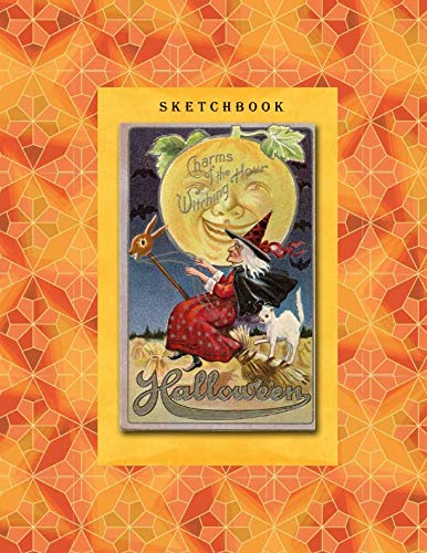 Sketchbook: Vintage Witch - A Halloween Themed Large Notebook with 100 Blank Pages, Halloween Motifs Inside (8,5 x 11 inches)