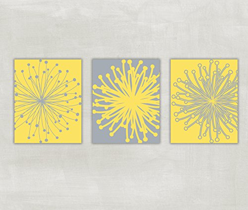 Dandelion Flower Burst Wall Art Contemporary Prints in Yellow and Nickel Grey - Customize your own Colors - UNFRAMED