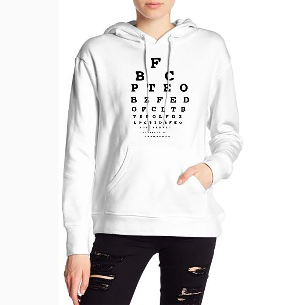 Womans Vision Alphabet Eye Test Sweater Sports Drawstring Hooded