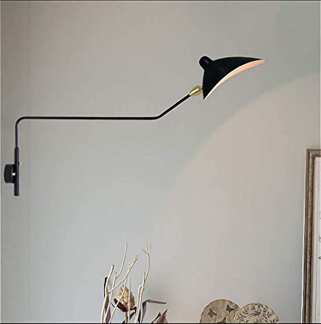 SUSUO Simple Style Swing Wall Sconce With Dome Shade 1 Light Black Lamp For