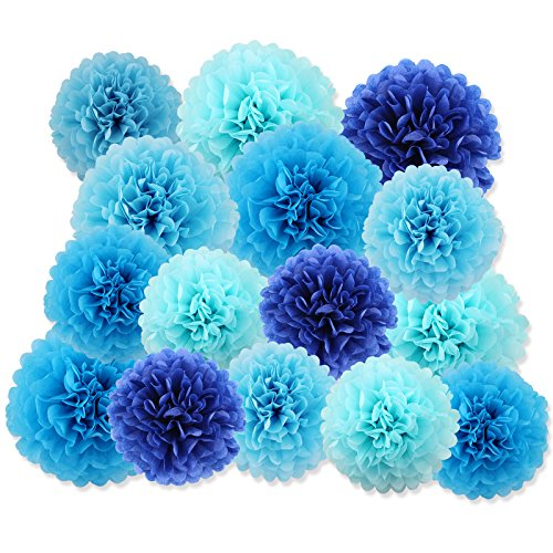 light blue pom pom decorations - 5
