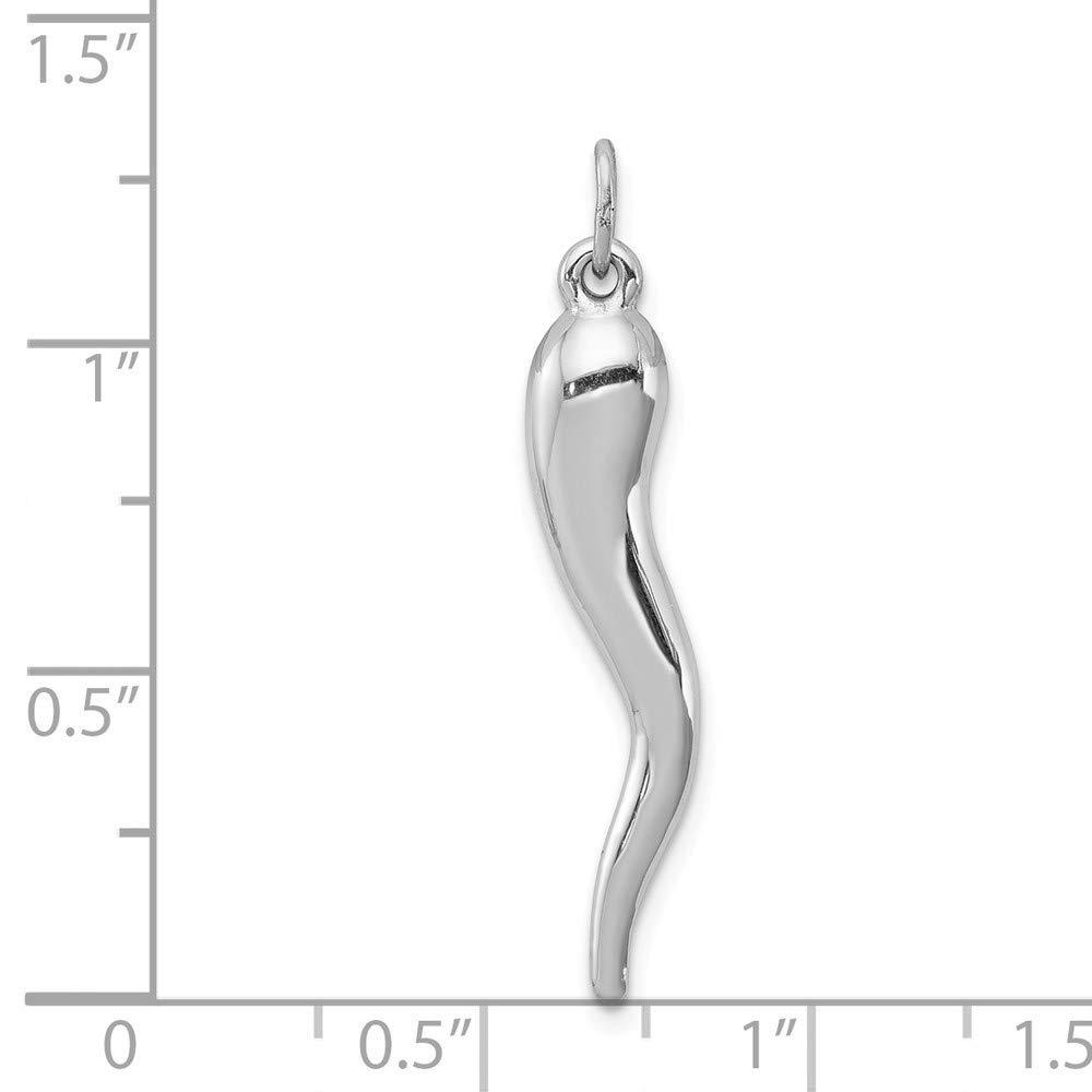 Argent Sterling poli Pendentif Forme de corne dabondance-JewelryWeb