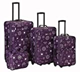 Rockland Luggage Brown Leaf 4 Piece Luggage Set, Purple Pearl, One Size, Bags Central
