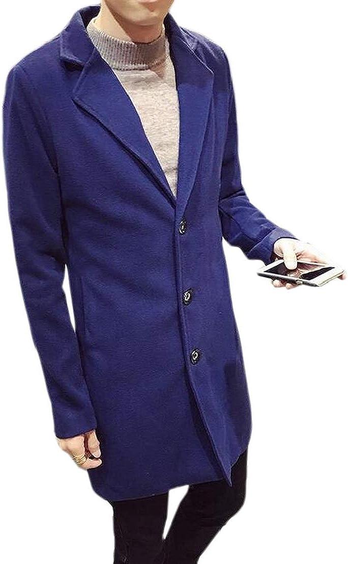 GenericMen Longline Lapel Fashion Regular Fit Wool Blended Trench Pea Coat Jacket