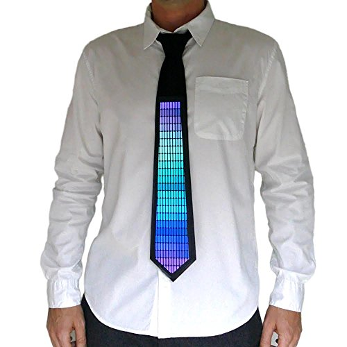 LED Rainbow Tie Sound Activated Clothing for Parties, Festivals, and Clubs (Led Sound Activated)
