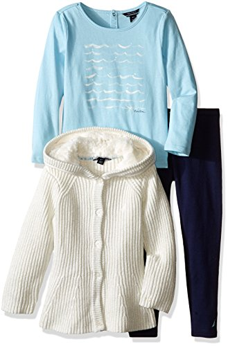 Nautica Little Girls' Toddler Peplum Sweater Jacket Shirt and Legging Set, Cream, 4T by Nautica