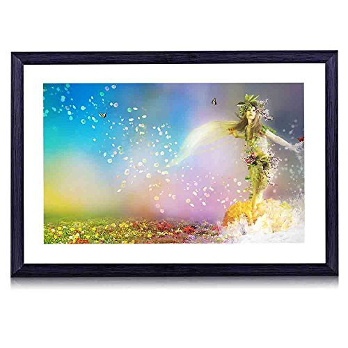 Mermaid-Black Wood Framed Wall Art Picture Print