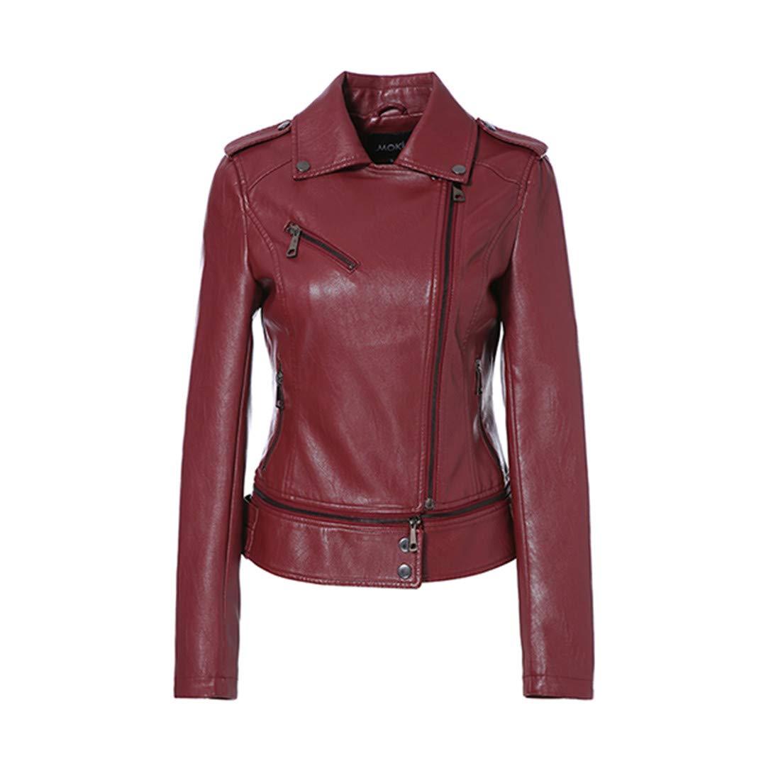 Red Wine Autumn Women Jacket Faux Leather Full Sleeve Zipper Short Length Biker Ladies Leather Jacket