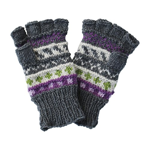 Lakhays Silly Yogi Womens Knitted Winter Fingerless Gloves/Mittens-Grey-One Size