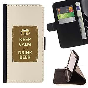 - Queen Pattern FOR Samsung Galaxy S4 Mini i9190 /La identificaci????n del cr????dito ranuras para tarjetas tir????n de la caja Cartera de cuero cubie - keep calm drink beer party