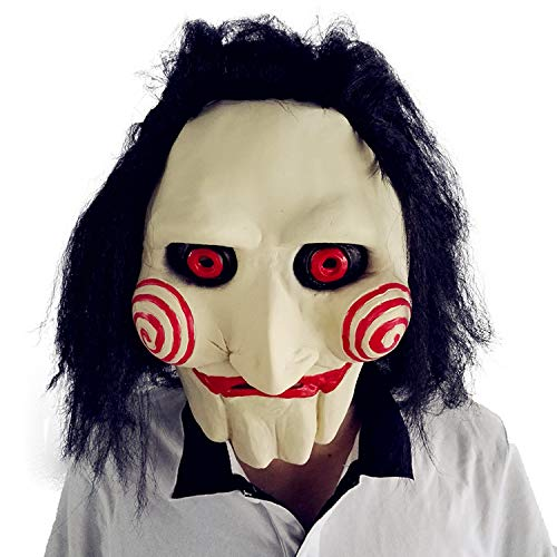 BBBL Jigsaw Jig Saw Mask Billy The Puppet Halloween Latex Horror Clown Costume Yellow ()