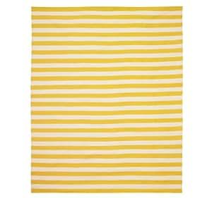DwellStudio Draper Stripe Citrine and Cream Runner, 8 by 10-Feet