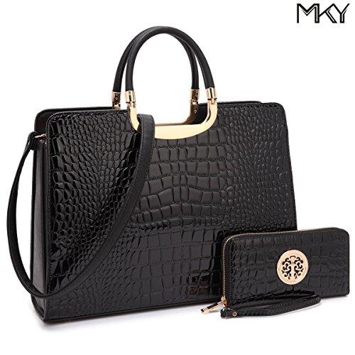 Patent Leather Satchel Handbag Designer Purse Wallet Set Striped Shoulder Bag Black by MKY