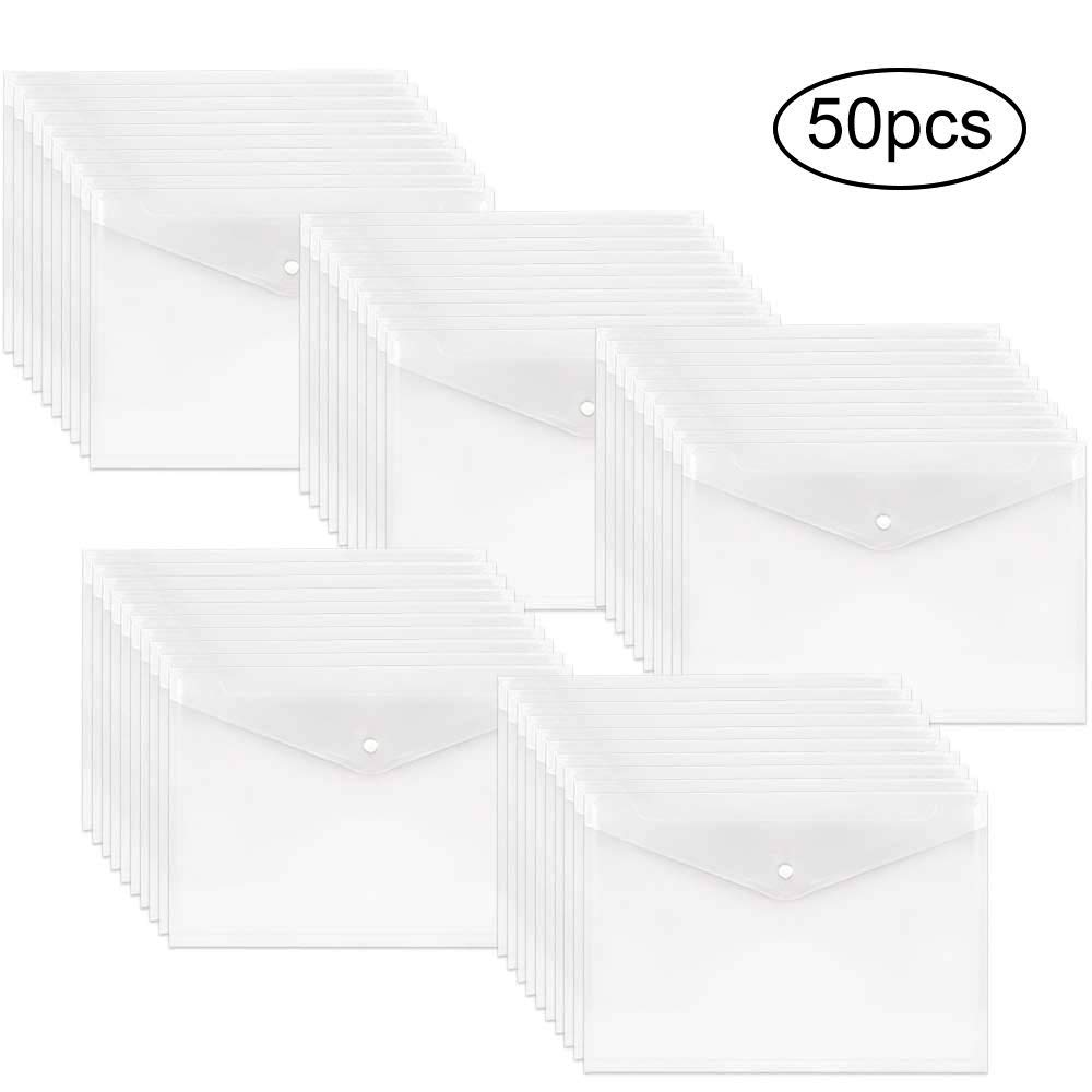 EOOUT 50pcs Poly Envelope, Clear Plastic Waterproof Envelope Folder with Button Closure, Letter Size/A4 Size by EOOUT