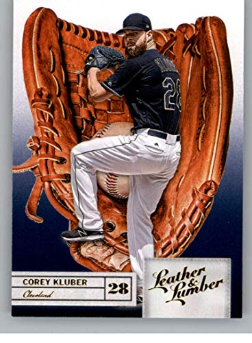 - 2019 Leather and Lumber Embossed Gold Baseball #38 Corey Kluber Cleveland Indians Glove Official MLBPA Trading Card From Panini