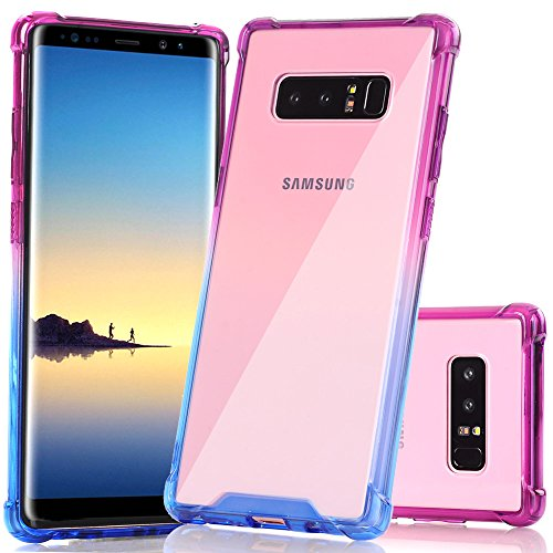 Galaxy Note 8 Case, BAISRKE Blue Purple Gradient Shock-Absorption TPU Soft Edge Bumper Anti-Scratch Rigid Slim Protective Cases Hard Plastic Back Cover for Samsung Galaxy Note 8 (2017)