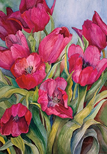 (Toland Home Garden Red Tulips 12.5 x 18 Inch Decorative Spring Summer Tulip Flower Garden Flag)