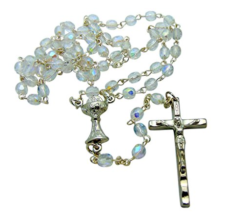 - Westman Works First Holy Communion Rosary with Clear Faceted Glass Beads and Metal Crucifix