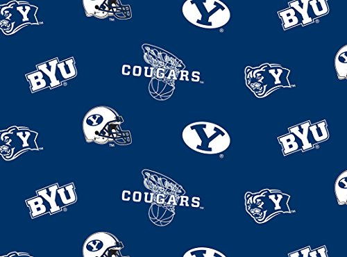 Brigham Young University Cougars Fleece Fabric - Sold By the - Brigham Young University Fabric